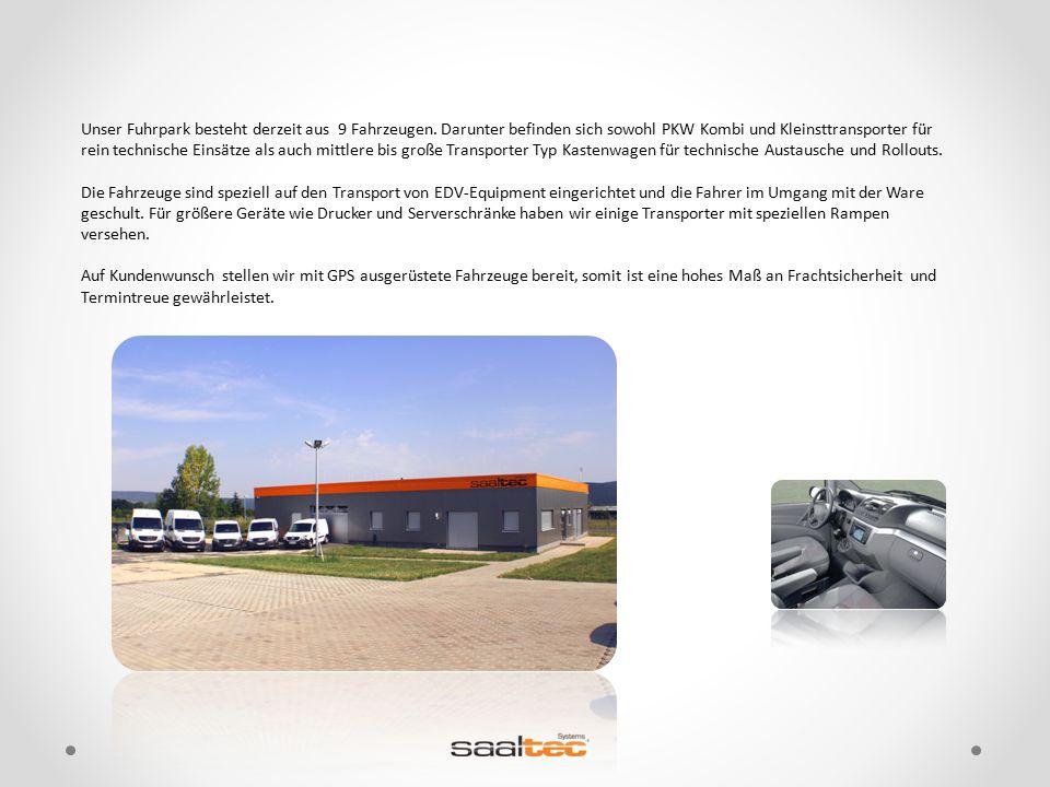 Unser Fuhrpark besteht derzeit aus 9 Fahrzeugen. Darunter befinden sich sowohl PKW Kombi und Kleinsttransporter für rein technische Einsätze als auch