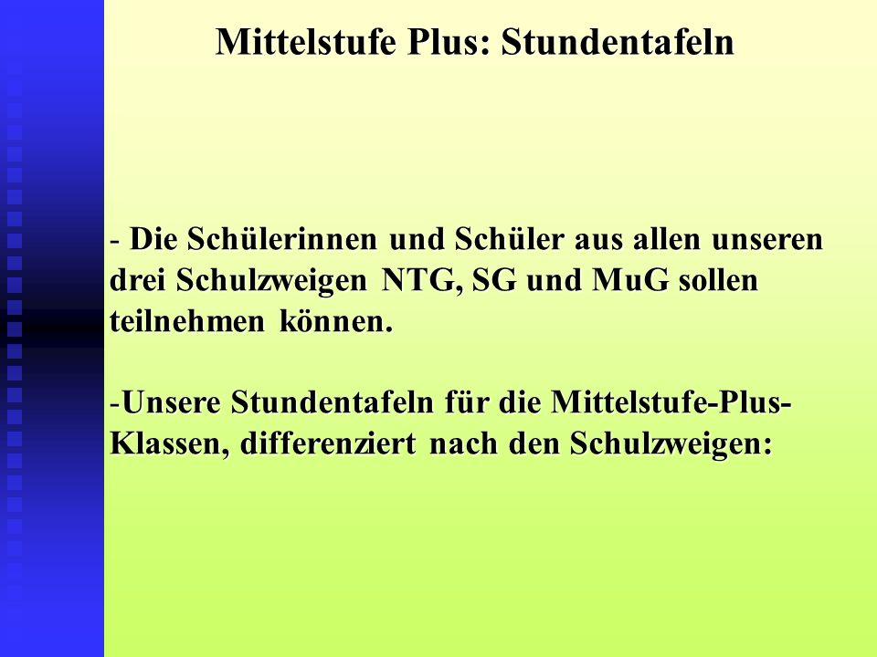 Mittelstufe Plus: Stundentafeln - Die Schülerinnen und Schüler aus allen unseren drei Schulzweigen NTG, SG und MuG sollen teilnehmen können.