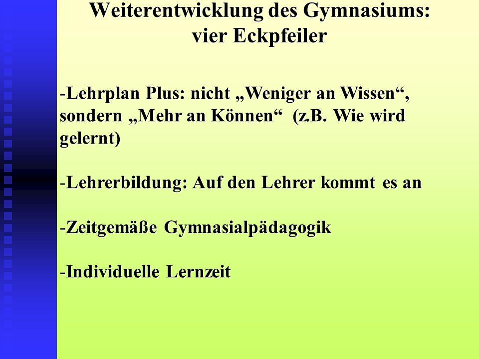 """Weiterentwicklung des Gymnasiums: vier Eckpfeiler -Lehrplan Plus: nicht """"Weniger an Wissen , sondern """"Mehr an Können (z.B."""