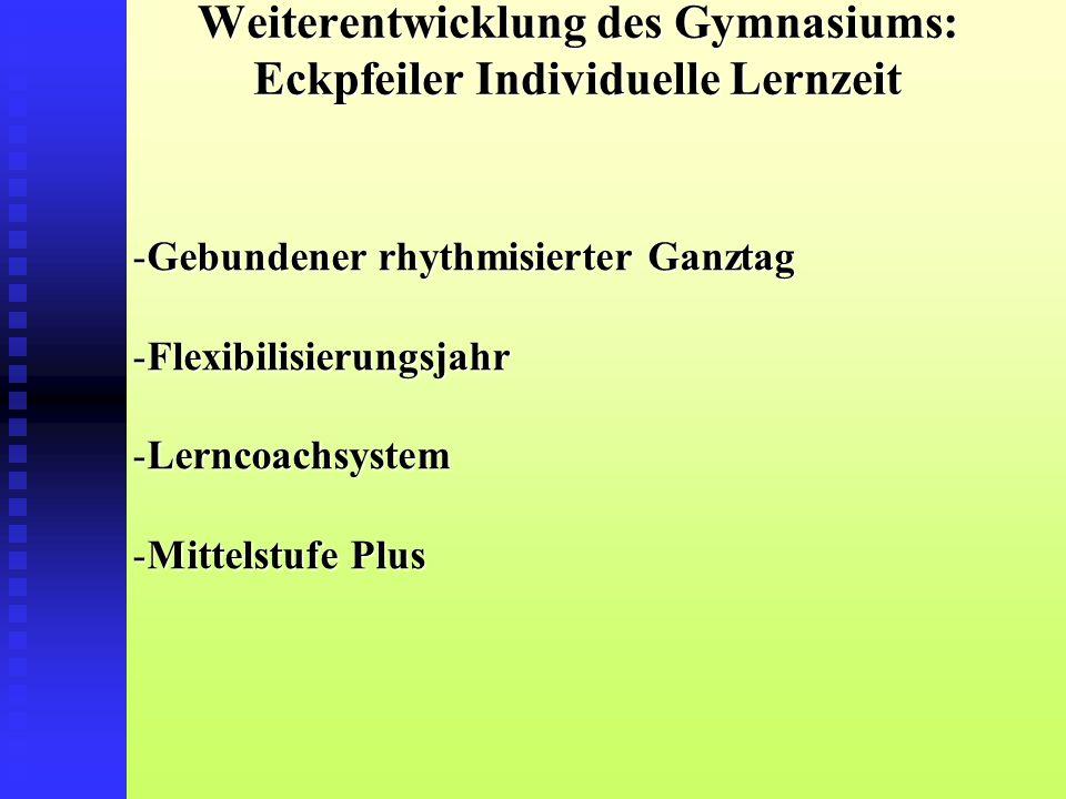 Weiterentwicklung des Gymnasiums: Eckpfeiler Individuelle Lernzeit -Gebundener rhythmisierter Ganztag -Flexibilisierungsjahr -Lerncoachsystem -Mittelstufe Plus