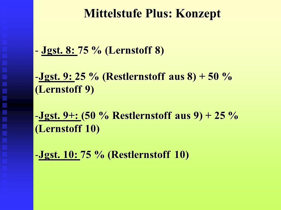 Mittelstufe Plus: Konzept - Jgst. 8: 75 % (Lernstoff 8) -Jgst.