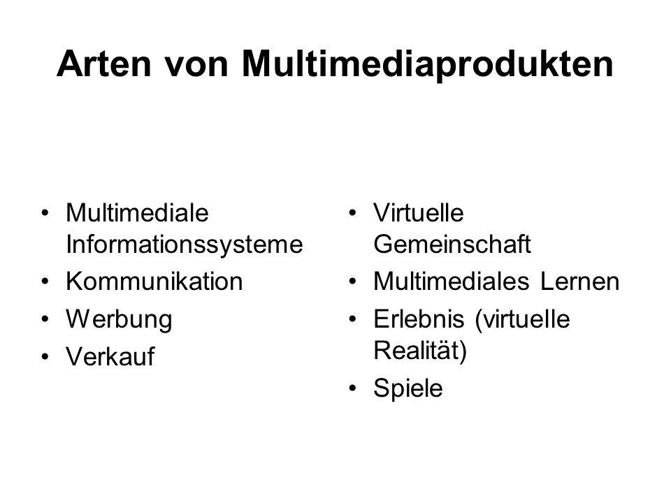 Arten von Multimediaprodukten Multimediale Informationssysteme Kommunikation Werbung Verkauf Virtuelle Gemeinschaft Multimediales Lernen Erlebnis (vir