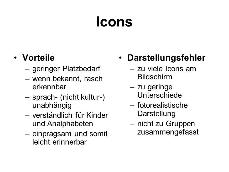Icons Vorteile –geringer Platzbedarf –wenn bekannt, rasch erkennbar –sprach- (nicht kultur-) unabhängig –verständlich für Kinder und Analphabeten –ein
