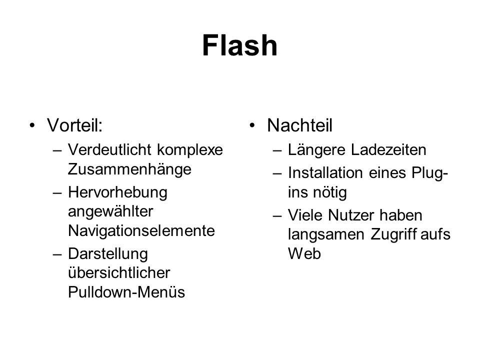 Flash Vorteil: –Verdeutlicht komplexe Zusammenhänge –Hervorhebung angewählter Navigationselemente –Darstellung übersichtlicher Pulldown-Menüs Nachteil
