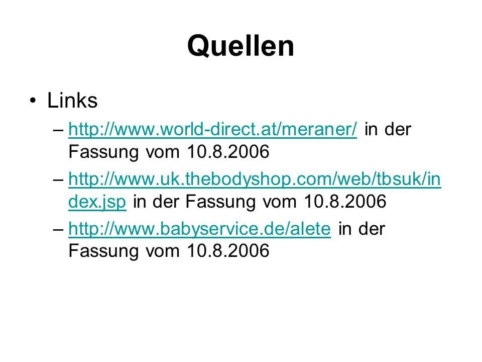 Quellen Links –http://www.world-direct.at/meraner/ in der Fassung vom 10.8.2006http://www.world-direct.at/meraner/ –http://www.uk.thebodyshop.com/web/