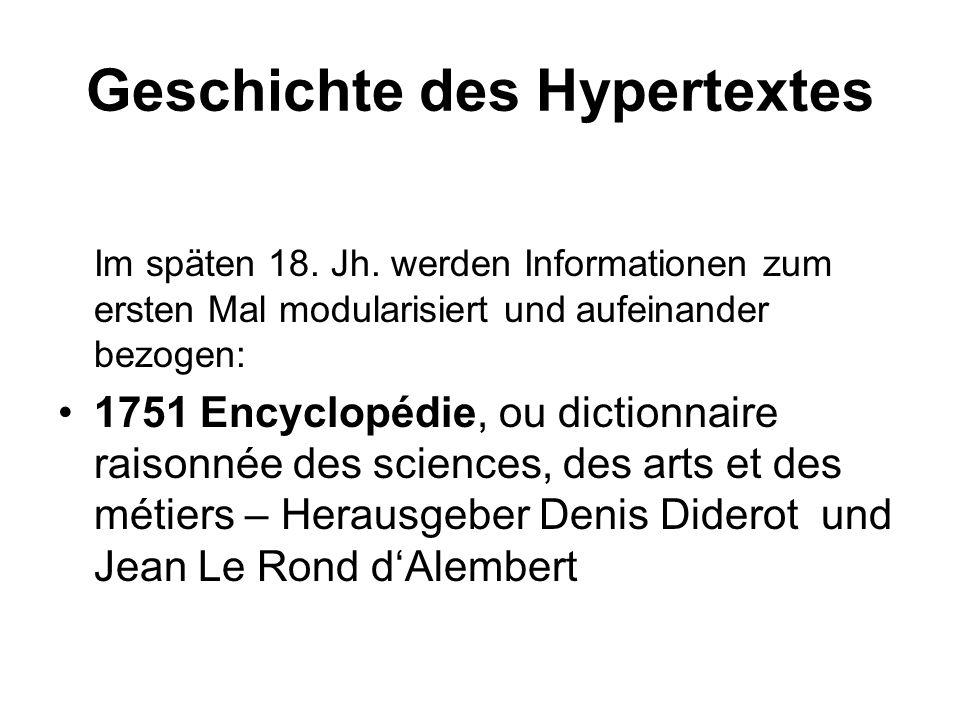 Geschichte des Hypertextes Im späten 18. Jh. werden Informationen zum ersten Mal modularisiert und aufeinander bezogen: 1751 Encyclopédie, ou dictionn