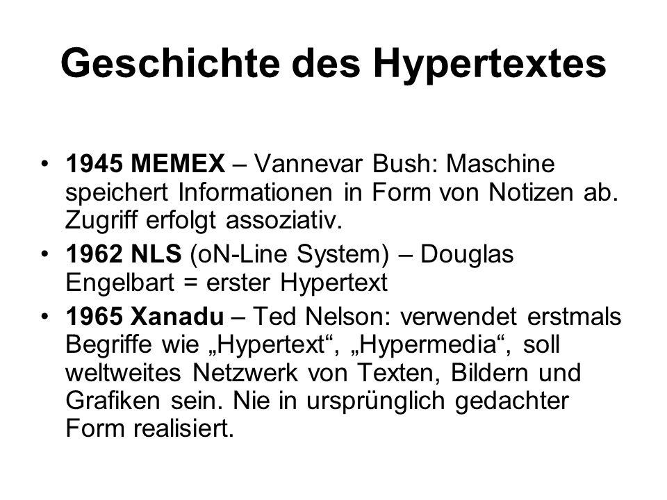Geschichte des Hypertextes 1945 MEMEX – Vannevar Bush: Maschine speichert Informationen in Form von Notizen ab. Zugriff erfolgt assoziativ. 1962 NLS (