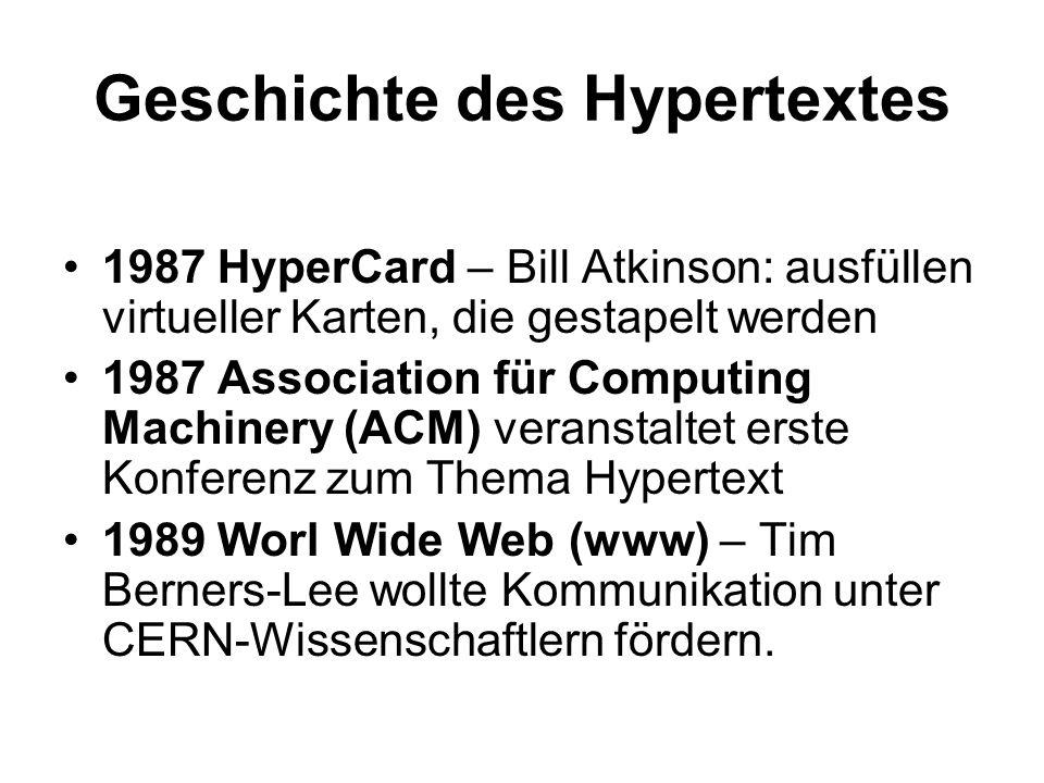 Geschichte des Hypertextes 1987 HyperCard – Bill Atkinson: ausfüllen virtueller Karten, die gestapelt werden 1987 Association für Computing Machinery