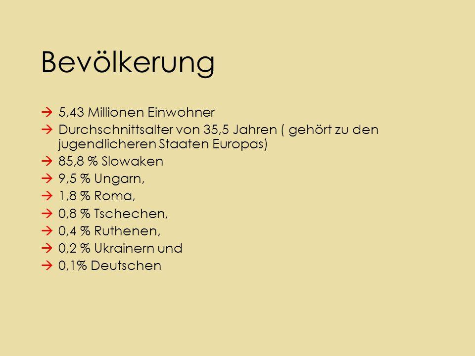 Bevölkerung  5,43 Millionen Einwohner  Durchschnittsalter von 35,5 Jahren ( gehört zu den jugendlicheren Staaten Europas)  85,8 % Slowaken  9,5 % Ungarn,  1,8 % Roma,  0,8 % Tschechen,  0,4 % Ruthenen,  0,2 % Ukrainern und  0,1% Deutschen