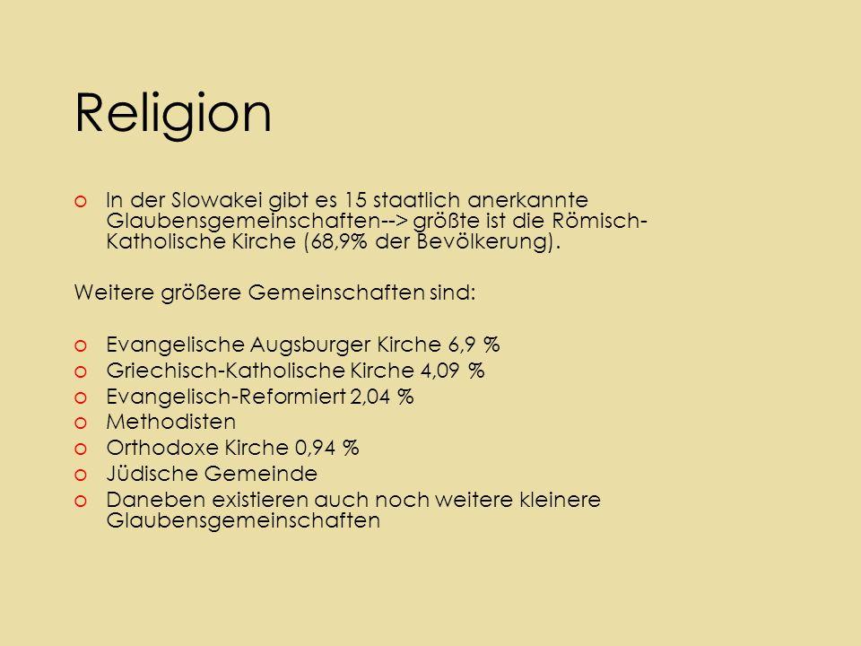 Religion oIn der Slowakei gibt es 15 staatlich anerkannte Glaubensgemeinschaften--> größte ist die Römisch- Katholische Kirche (68,9% der Bevölkerung).