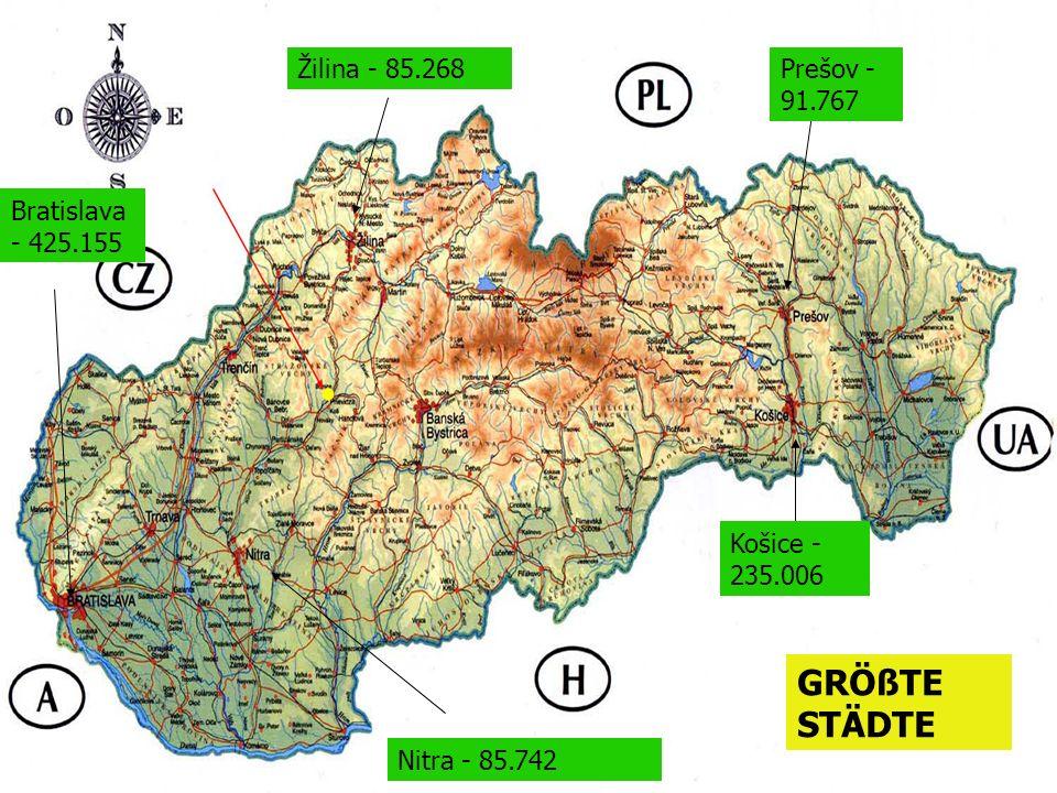 Žilina - 85.268 Nitra - 85.742 Košice - 235.006 Prešov - 91.767 Bratislava - 425.155 GRÖßTE STÄDTE