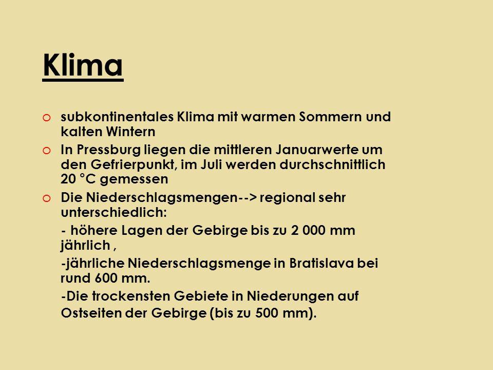 Klima o subkontinentales Klima mit warmen Sommern und kalten Wintern o In Pressburg liegen die mittleren Januarwerte um den Gefrierpunkt, im Juli werden durchschnittlich 20 °C gemessen o Die Niederschlagsmengen--> regional sehr unterschiedlich: - höhere Lagen der Gebirge bis zu 2 000 mm jährlich, -jährliche Niederschlagsmenge in Bratislava bei rund 600 mm.