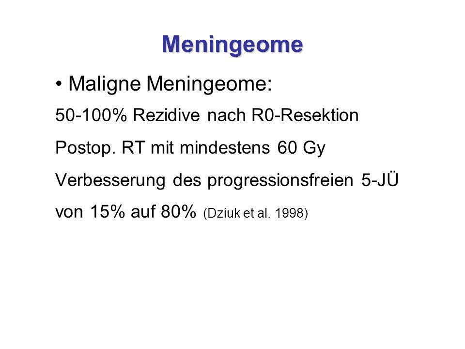 Meningeome Maligne Meningeome: 50-100% Rezidive nach R0-Resektion Postop. RT mit mindestens 60 Gy Verbesserung des progressionsfreien 5-JÜ von 15% auf