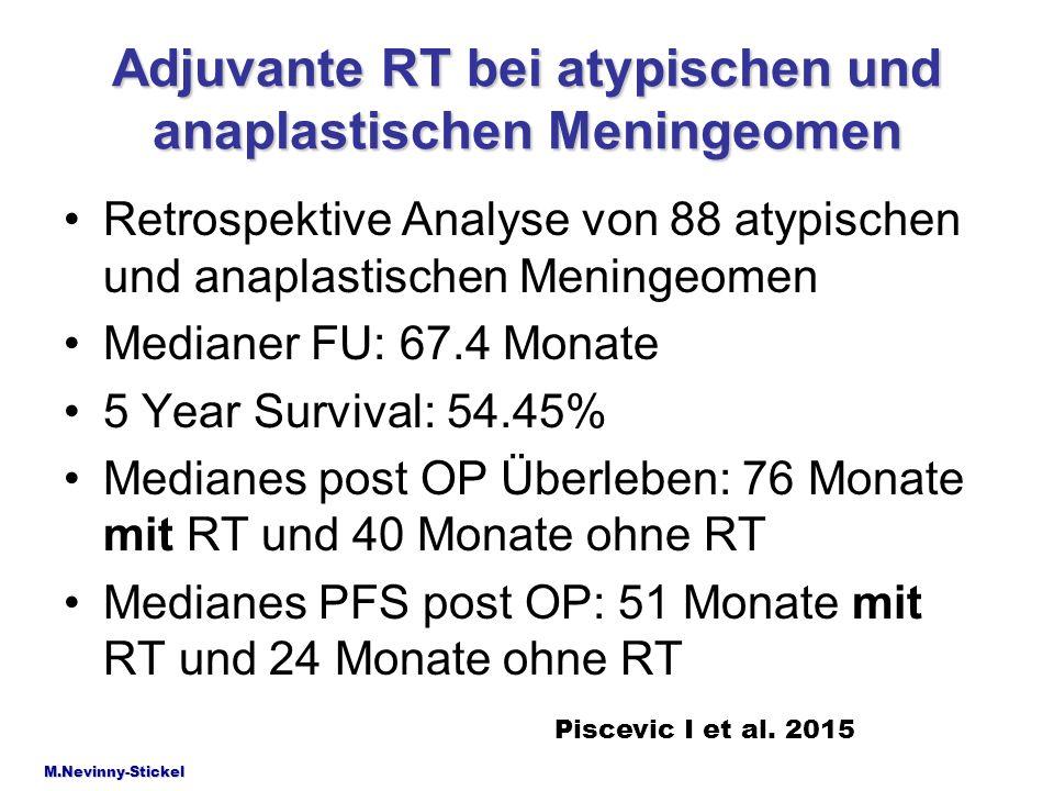 Adjuvante RT bei atypischen und anaplastischen Meningeomen Retrospektive Analyse von 88 atypischen und anaplastischen Meningeomen Medianer FU: 67.4 Mo