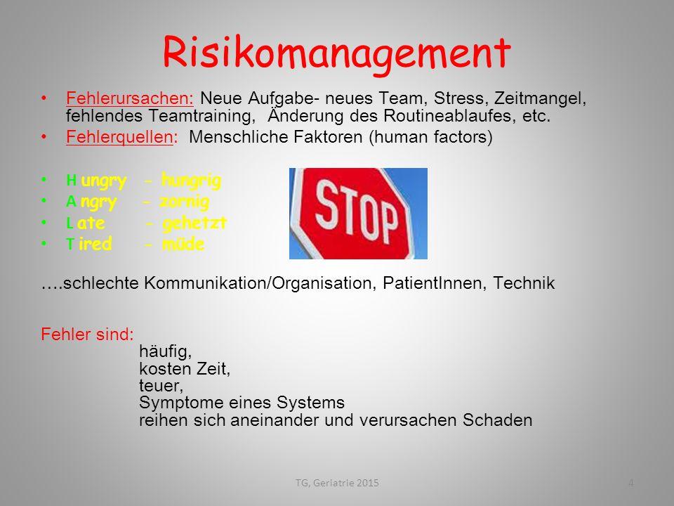Risikomanagement Fehlerursachen: Neue Aufgabe- neues Team, Stress, Zeitmangel, fehlendes Teamtraining, Änderung des Routineablaufes, etc. Fehlerquelle
