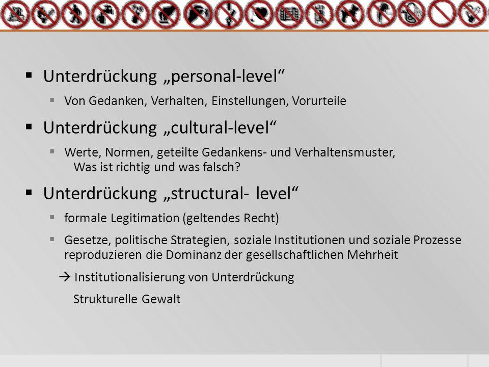 """ Unterdrückung """"personal-level  Von Gedanken, Verhalten, Einstellungen, Vorurteile  Unterdrückung """"cultural-level  Werte, Normen, geteilte Gedankens- und Verhaltensmuster, Was ist richtig und was falsch."""