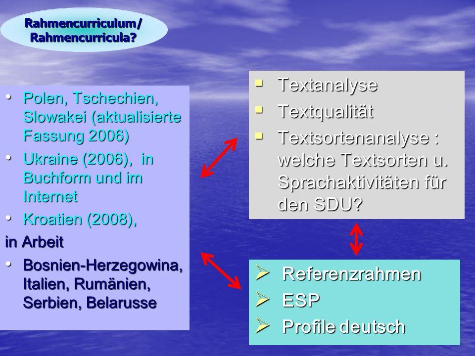 Polen, Tschechien, Slowakei (aktualisierte Fassung 2006) Polen, Tschechien, Slowakei (aktualisierte Fassung 2006) Ukraine (2006), in Buchform und im Internet Ukraine (2006), in Buchform und im Internet Kroatien (2008), Kroatien (2008), in Arbeit Bosnien-Herzegowina, Italien, Rumänien, Serbien, Belarusse Bosnien-Herzegowina, Italien, Rumänien, Serbien, Belarusse  Referenzrahmen  ESP  Profile deutsch Rahmencurriculum/ Rahmencurricula.