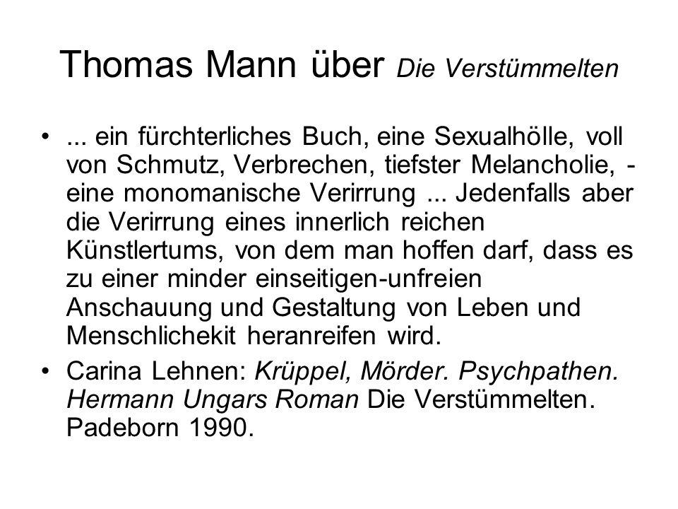 Thomas Mann über Die Verstümmelten...