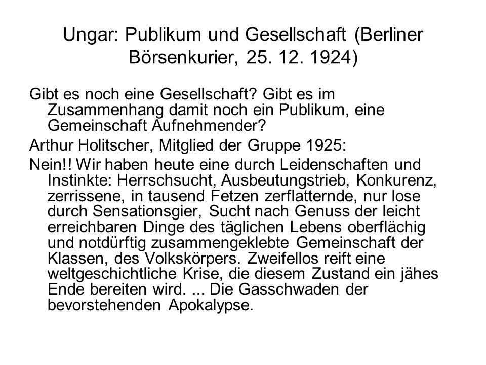 Ungar: Publikum und Gesellschaft (Berliner Börsenkurier, 25.