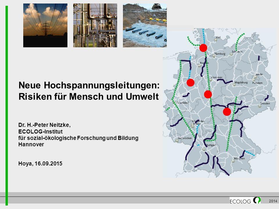 2014 Neue Hochspannungsleitungen: Risiken für Mensch und Umwelt Dr. H.-Peter Neitzke, ECOLOG-Institut für sozial-ökologische Forschung und Bildung Han