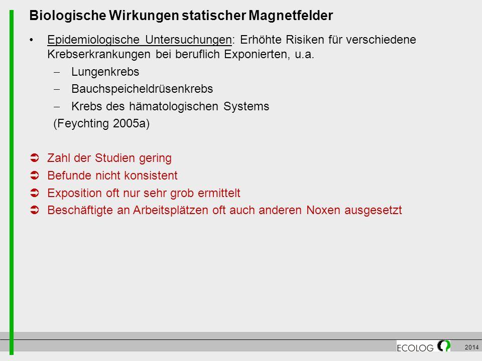2014 Biologische Wirkungen statischer Magnetfelder Epidemiologische Untersuchungen: Erhöhte Risiken für verschiedene Krebserkrankungen bei beruflich E