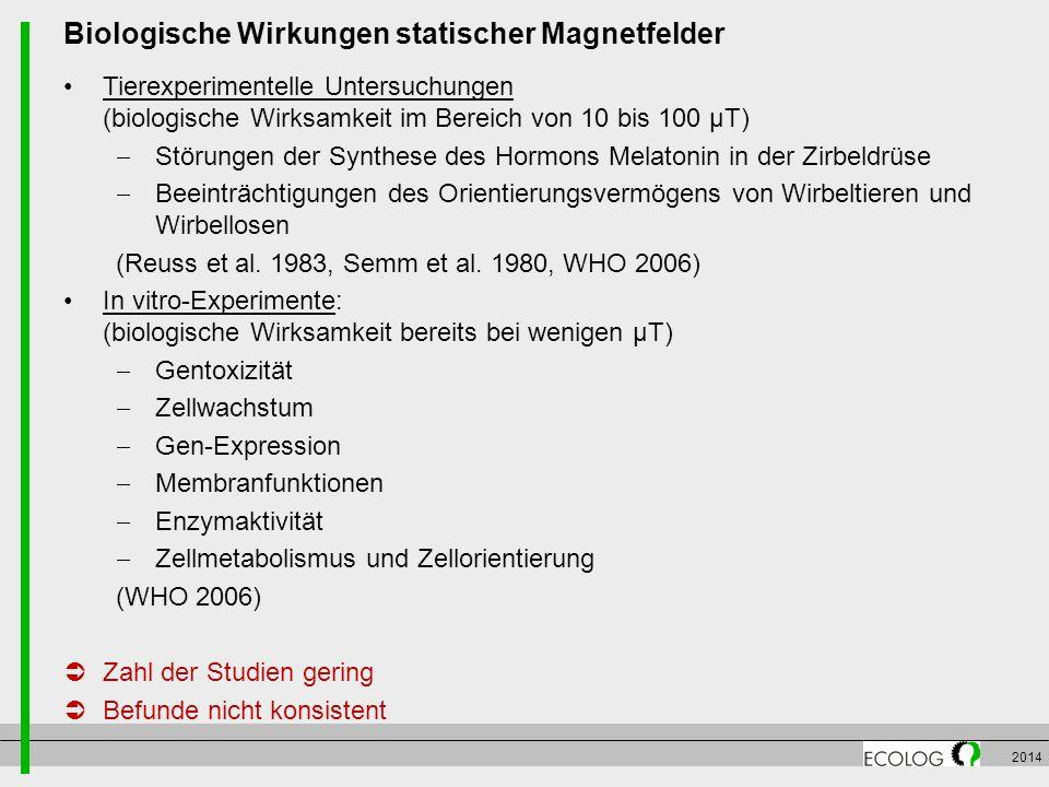 2014 Biologische Wirkungen statischer Magnetfelder Tierexperimentelle Untersuchungen (biologische Wirksamkeit im Bereich von 10 bis 100 µT)  Störunge