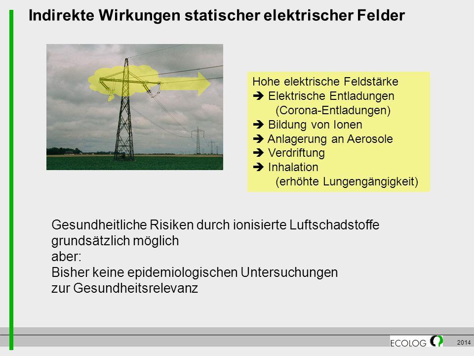 2014 Indirekte Wirkungen statischer elektrischer Felder Hohe elektrische Feldstärke  Elektrische Entladungen (Corona-Entladungen)  Bildung von Ionen