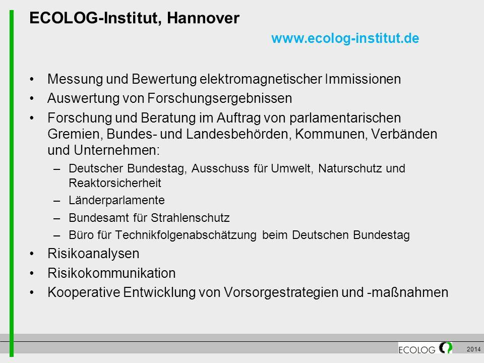 ECOLOG-Institut, Hannover www.ecolog-institut.de Messung und Bewertung elektromagnetischer Immissionen Auswertung von Forschungsergebnissen Forschung