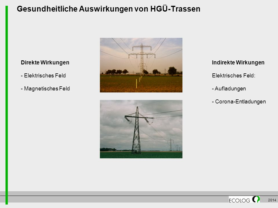 2014 Gesundheitliche Auswirkungen von HGÜ-Trassen Direkte Wirkungen - Elektrisches Feld - Magnetisches Feld Indirekte Wirkungen Elektrisches Feld: - A