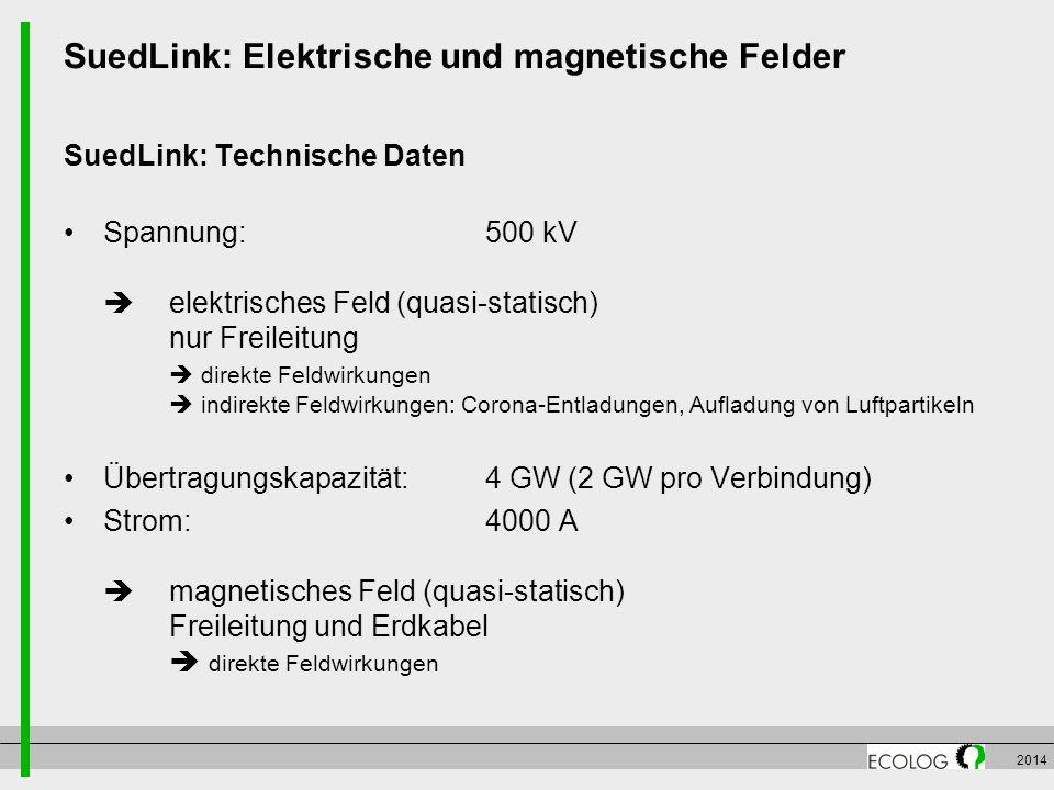 2014 SuedLink: Elektrische und magnetische Felder SuedLink: Technische Daten Spannung:500 kV  elektrisches Feld (quasi-statisch) nur Freileitung  di