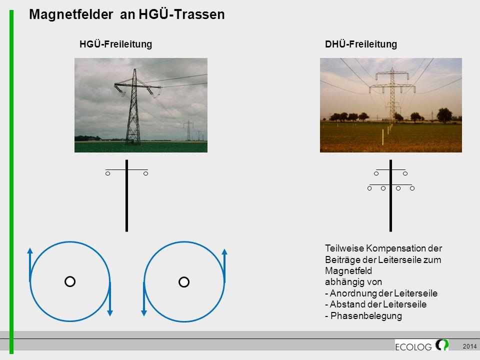 2014 Magnetfelder an HGÜ-Trassen Teilweise Kompensation der Beiträge der Leiterseile zum Magnetfeld abhängig von - Anordnung der Leiterseile - Abstand