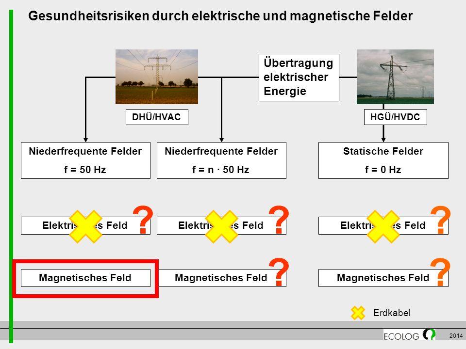 2014 Gesundheitsrisiken durch elektrische und magnetische Felder Elektrisches Feld Magnetisches Feld Statische Felder f = 0 Hz Niederfrequente Felder