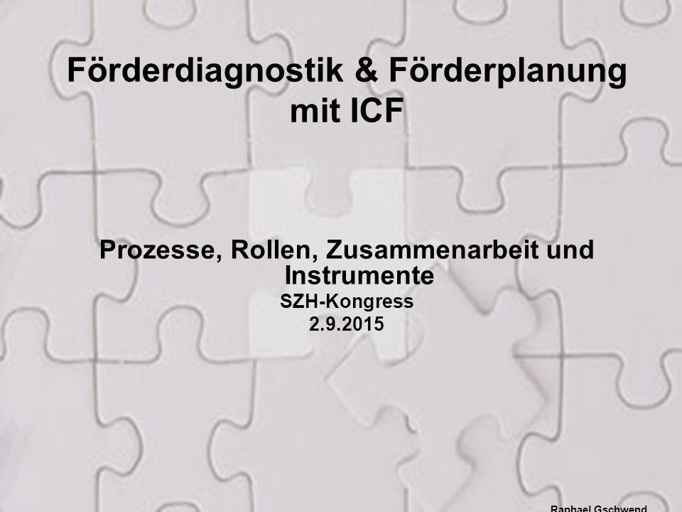 1 Prozesse, Rollen, Zusammenarbeit und Instrumente SZH-Kongress 2.9.2015 Raphael Gschwend Pulsmesser.ch Förderdiagnostik & Förderplanung mit ICF