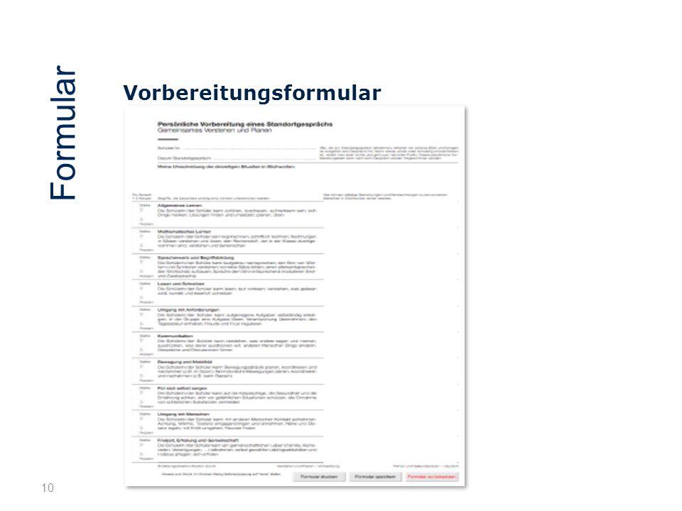 10 Vorbereitungsformular Formular