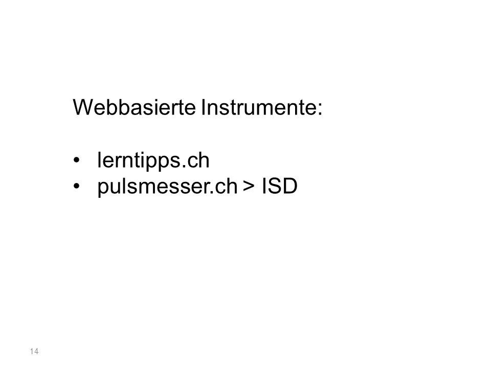 14 Webbasierte Instrumente: lerntipps.ch pulsmesser.ch > ISD
