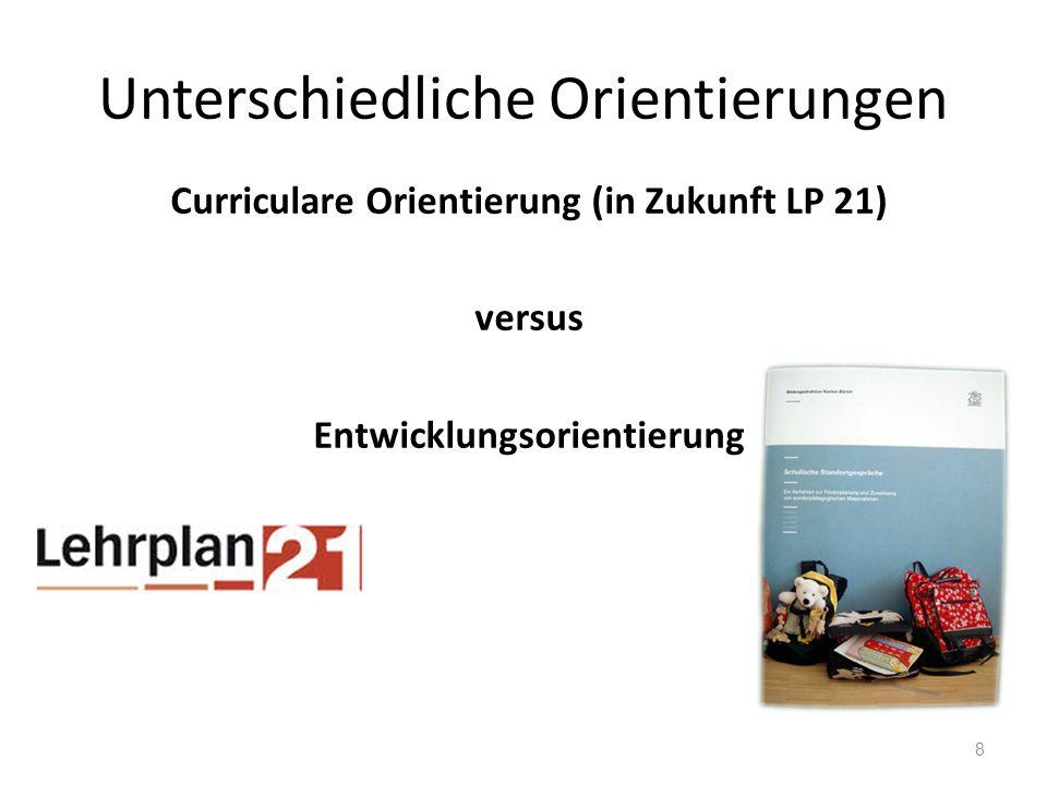 Unterschiedliche Orientierungen Curriculare Orientierung (in Zukunft LP 21) versus Entwicklungsorientierung 8