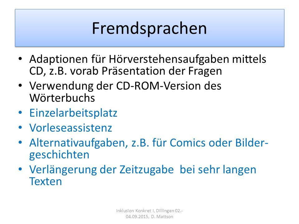 Fremdsprachen Adaptionen für Hörverstehensaufgaben mittels CD, z.B.