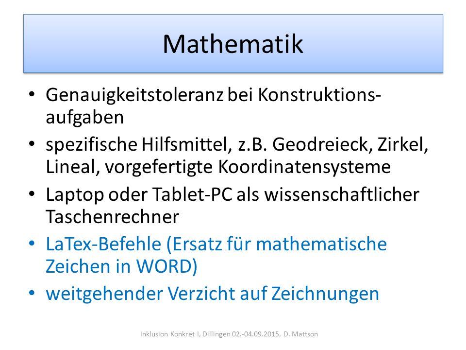 Mathematik Genauigkeitstoleranz bei Konstruktions- aufgaben spezifische Hilfsmittel, z.B. Geodreieck, Zirkel, Lineal, vorgefertigte Koordinatensysteme