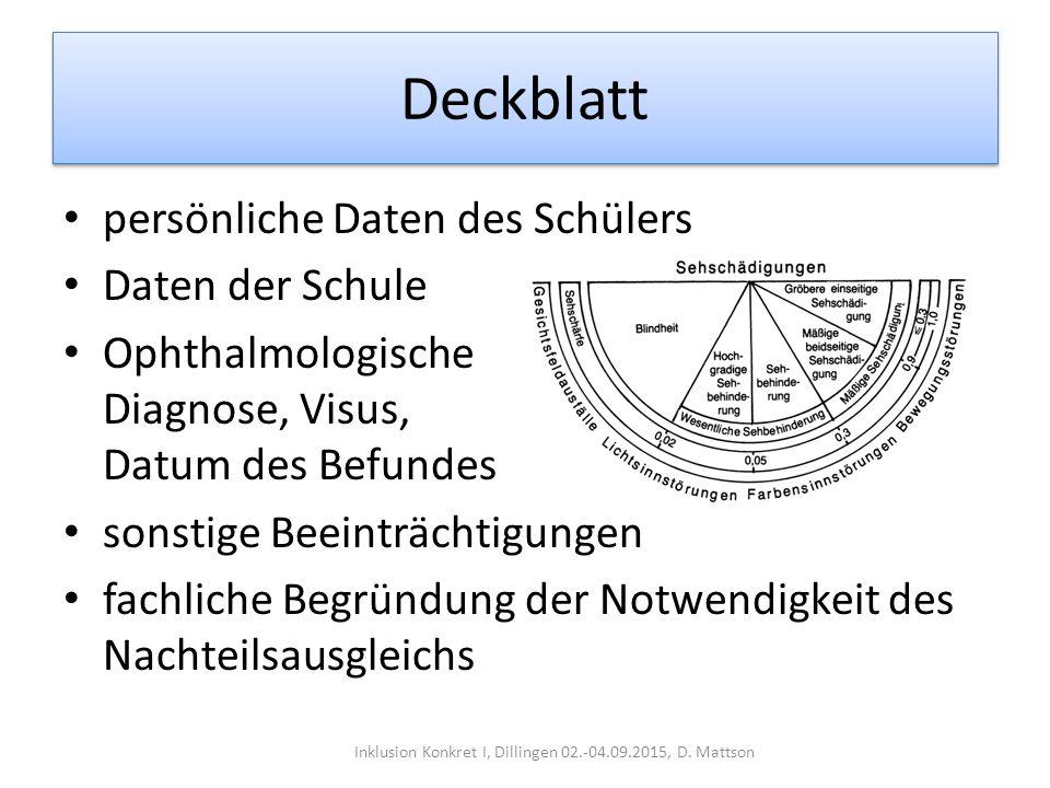 Deckblatt persönliche Daten des Schülers Daten der Schule Ophthalmologische Diagnose, Visus, Datum des Befundes sonstige Beeinträchtigungen fachliche