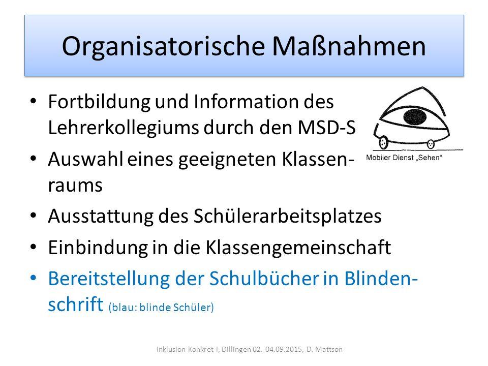 Organisatorische Maßnahmen Fortbildung und Information des Lehrerkollegiums durch den MSD-S Auswahl eines geeigneten Klassen- raums Ausstattung des Sc