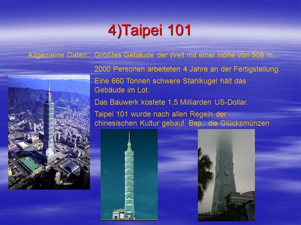 4)Taipei 101 Größtes Gebäude der Welt mit einer Höhe von 508 m.Allgemeine Daten: 2000 Personen arbeiteten 4 Jahre an der Fertigstellung. Eine 660 Tonn