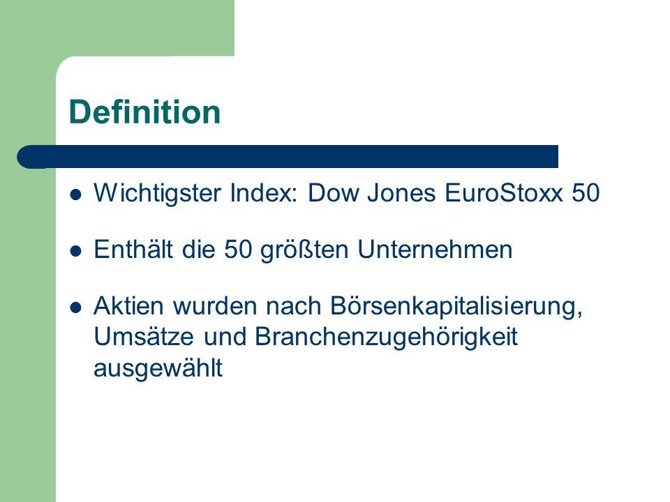 Definition Wichtigster Index: Dow Jones EuroStoxx 50 Enthält die 50 größten Unternehmen Aktien wurden nach Börsenkapitalisierung, Umsätze und Branchenzugehörigkeit ausgewählt