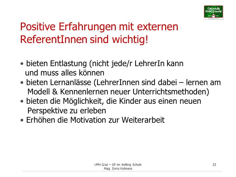 UPH Graz – GF im Setting Schule Mag. Doris Kuhness 23 Positive Erfahrungen mit externen ReferentInnen sind wichtig! bieten Entlastung (nicht jede/r Le