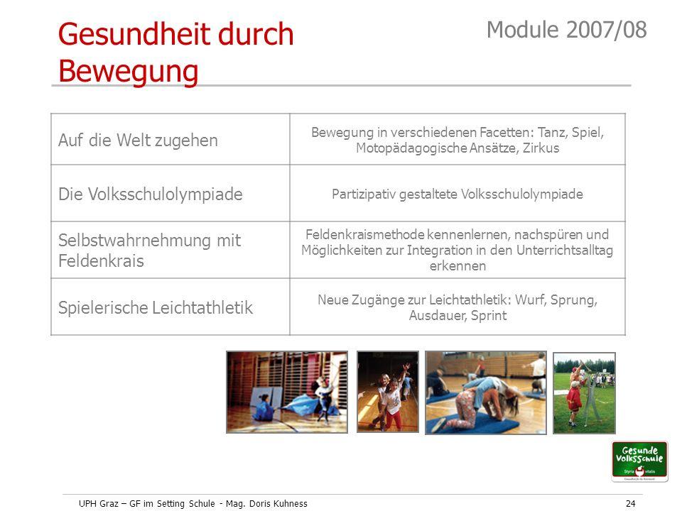 UPH Graz – GF im Setting Schule - Mag. Doris Kuhness24 Module 2007/08 Auf die Welt zugehen Bewegung in verschiedenen Facetten: Tanz, Spiel, Motopädago