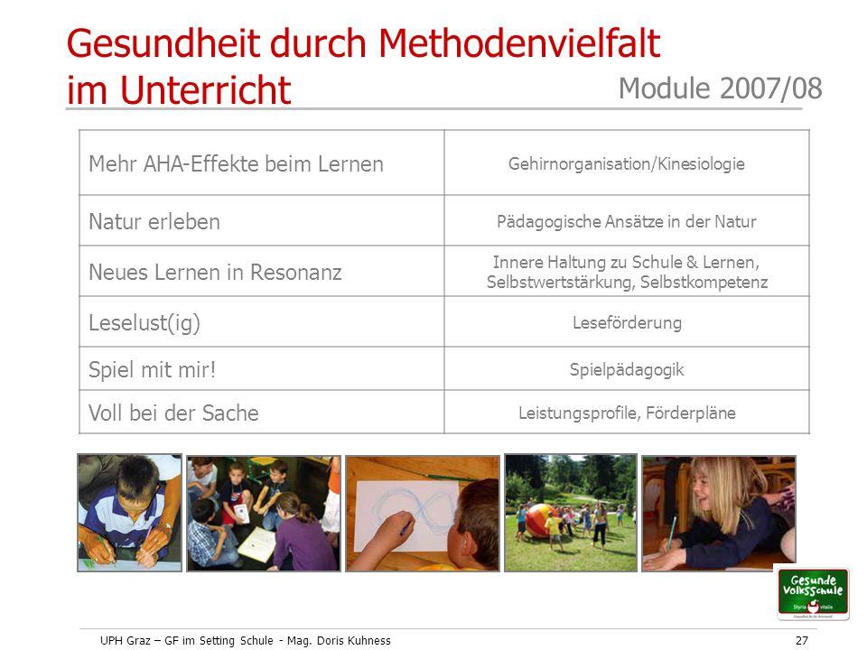 UPH Graz – GF im Setting Schule - Mag. Doris Kuhness27 Module 2007/08 Gesundheit durch Methodenvielfalt im Unterricht Mehr AHA-Effekte beim Lernen Geh