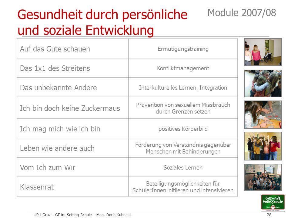 UPH Graz – GF im Setting Schule - Mag. Doris Kuhness28 Module 2007/08 Gesundheit durch persönliche und soziale Entwicklung Auf das Gute schauen Ermuti