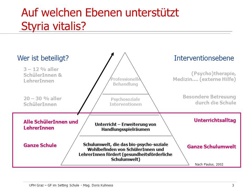 UPH Graz – GF im Setting Schule - Mag. Doris Kuhness3 Auf welchen Ebenen unterstützt Styria vitalis? Professionelle Behandlung Psychosoziale Intervent