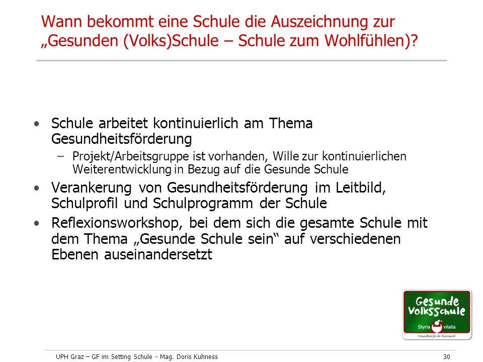 """UPH Graz – GF im Setting Schule - Mag. Doris Kuhness30 Wann bekommt eine Schule die Auszeichnung zur """"Gesunden (Volks)Schule – Schule zum Wohlfühlen)?"""