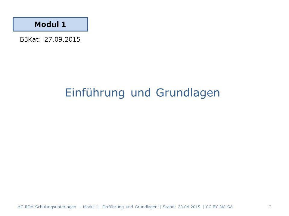 AG RDA Schulungsunterlagen – Modul 1: Einführung und Grundlagen   Stand: 23.04.2015   CC BY-NC-SA 3 Konzeptionelle Modelle der RDA RDA Toolkit Grundbegriffe für die Einführung der RDA Struktur und Aufbau der RDA