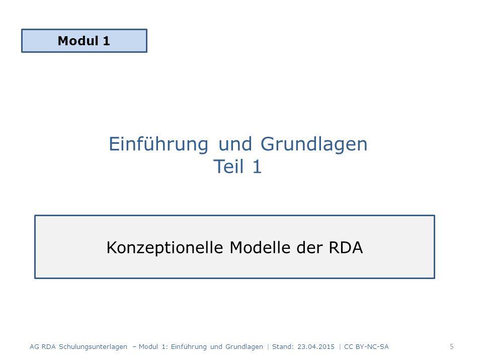Einführung und Grundlagen Teil 1 Modul 1 5 AG RDA Schulungsunterlagen – Modul 1: Einführung und Grundlagen | Stand: 23.04.2015 | CC BY-NC-SA Konzeptionelle Modelle der RDA
